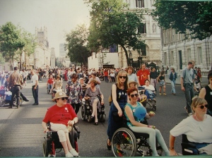 9 July 1994, Whitehall, London - Disabled People Rights Now demo, for new Anti-Discrimination Law