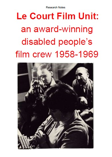Front cover of the pdf booklet, showing title and a monochrome photograph of two men in wheelchairs filming a seated woman typing